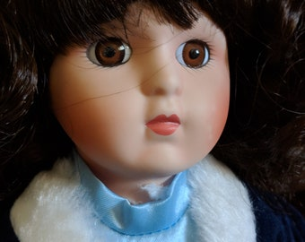 Blue Velvet Vintage Porcelain Doll
