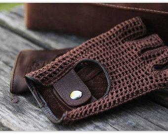 HOT CHOCOLATE brown fingerless driving gloves/mittens/Driving gloves/Fingerless leather crochet gloves for Women or Men/Gift for her/him