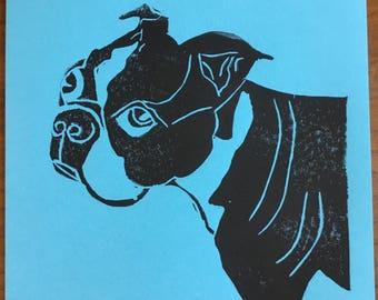 "Blue Boston Terrier 8.5""x11"" Ink Print"