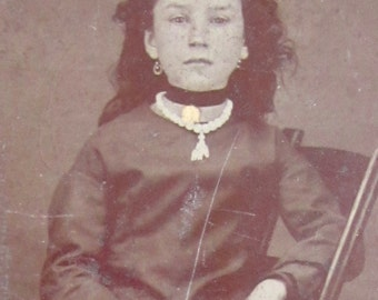 Amazing 1870's Sweet Young Girl Wearing Choker Tintype Photograph - Free Shipping