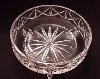 Arocroc style footed candy dish of clear glass