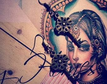 Bronze steampunk key earrings