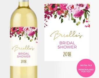 Bright pink Floral Bridal Shower Wine Label Printable. Red pink floral Bridal Shower bottle label Bachelorette label Personalised Hens Gift