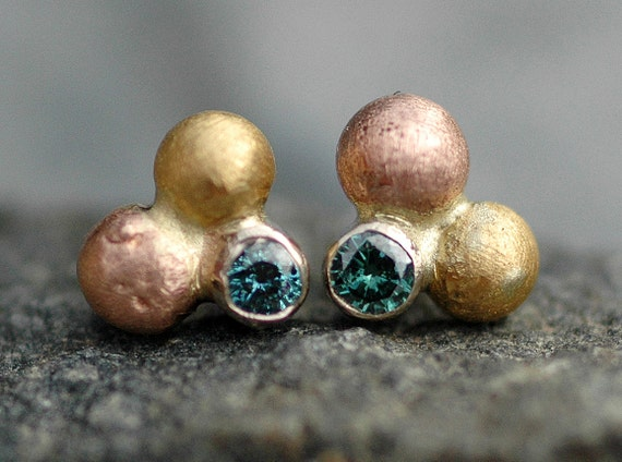 ON SALE-  Recycled Blue Diamonds in Orb Cluster Recycled Rose, White, and Yellow Gold Post Earrings- Ready to Ship Post Earrings
