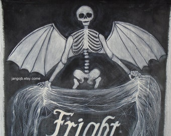Handpainted for you...Winged Skeleton Fright Night Halloween Banner