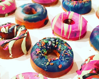 DONUT Birthday Favors - Mini DONUT Crayon Favors - Birthday Party Rainbow Crayon Favor Set - Pick Your Quantity- Crayons - Donut Party Favor