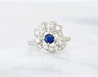 Antique Sapphire and Diamond Ring | Art Deco Ring | 14k White Gold Cocktail Ring | 1940s Jewelry | September Birthstone Ring | Size 5.25