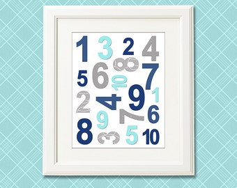 Aqua,grey and navy NUMBERS nursery art print - 8x10 - Children wall art, Baby Room Decor, nursery art -  UNFRAMED