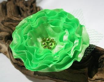 Lime Green Flower Hair Clip  | Gentle Floral Hair Pin | Fabric Flower Hair Accessory | Fabric Flower Brooch