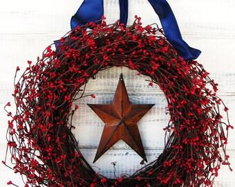 Summer Wreath-Primitive PATRIOTIC Wreath-Star Wreath-Rustic Wreath-4th July-Door Wreath-Scented Cinnamon Stix-Choose your Scent and Ribbon
