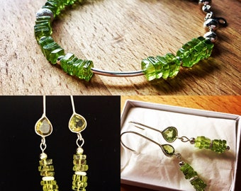 Peridot and 925 Sterling Silver Bracelet - August Birthstone
