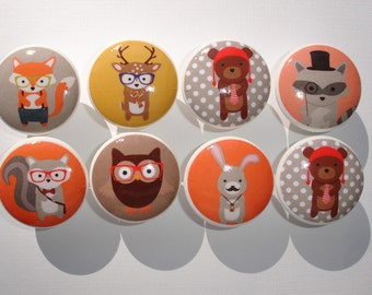 Hipster Woodland Animal Dresser Drawer Knobs Set of 8
