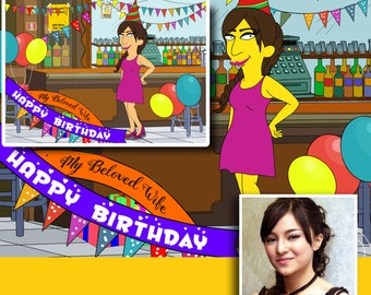 Custom Portrait, Birthday Gift For Her,  Cartoon Portrait, Simpsons Custom, Simpsons Art, Birthday Gift Ideas, Birthday Gift For Wife