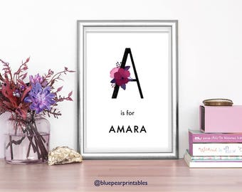 Amara Custom Wedding Favor Baby Girl Name Sign Hand Lettering Customized Art Floral Lettering Kids Party Favors 8x10 Print Kids Poster