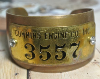 Brass Metal Cuff Bracelet, Cummins Brass Tag, Cummins Engine CO INC #3557, Bangle Bracelet,Steampunk,Unisex, One of a Kind By UPcycled Works