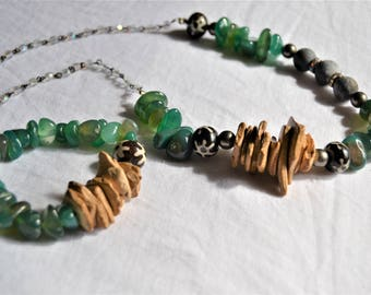 GREEN MOSS AGATE Wood Slab Rosary Chain Necklace Bracelet Rustic Jewelry Set