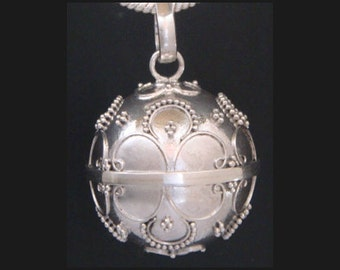 Sterling Silver Harmony Ball Bola Necklace with Cultural Balinese Motifs on a 925 Silver Chime Ball | Pregnancy Gift, Angel Caller 309