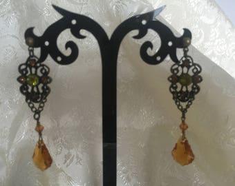 Antique Style Swarovski Crystal Drop Earrings