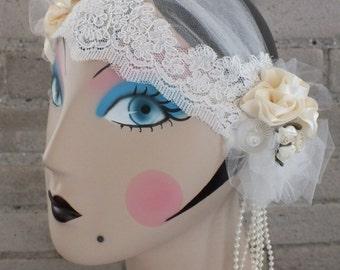 Ivory Bridal Cap Wedding Headpiece Downton Abbey