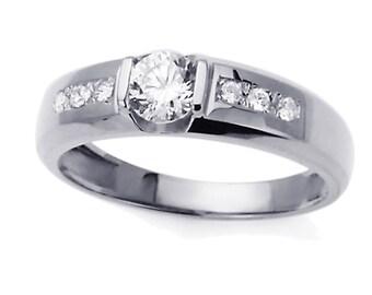 Men 14K White Gold CZ Seven Stone Wedding Band Ring / Free Gift Box(ATR268GW)