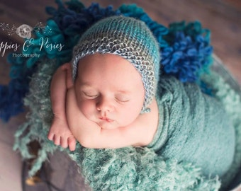 Simple Knit Bonnet New PATTERN ONLY Straight Needles Beginner True Newborn Size Baby Boy Girl Unisex Hat Photo Photography Prop
