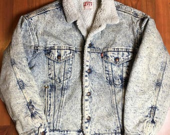 Vintage levis sherpa jacket acid wash denim jacket coat jean jacket - Large xl