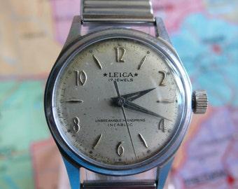 Rare Vintage Leica 17 Jewels Incabloc Swiss Men's Wrist Watch