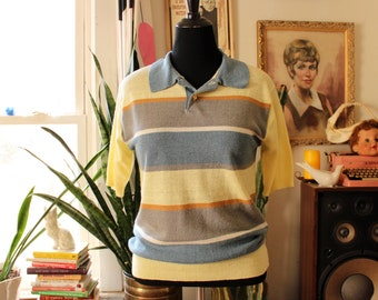 mens striped sweater with collar by Sir Baron . paper thin knit pullover - yellow blue & gray