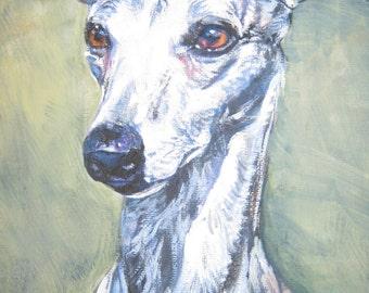 Whippet dog art  CANVAS print of LA Shepard painting 8x10