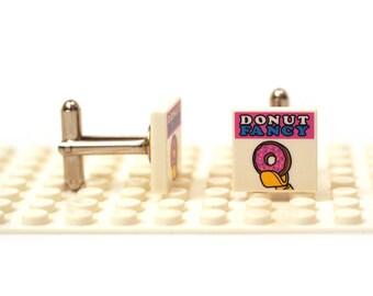 Fun cartoon Cufflinks. Donut. Cufflinks made with LEGO(R) bricks. Wedding gift