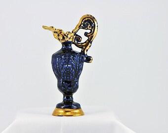Vintage Cobalt Blue Gold Gilt Mini Pitcher Bud Vase / Goldra Mini Pitcher Vase / Goldra E. Palestine, Ohio / Figurative Ornate Pitcher Vase