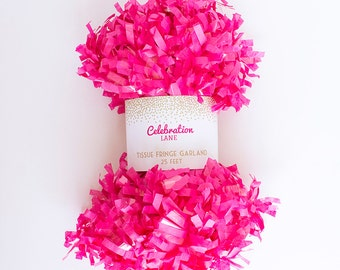HOT PINK Tissue Fringe Garland, 25 Feet - by Celebration Lane