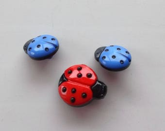 set of 3 Ladybug buttons - red and blue REF.  175