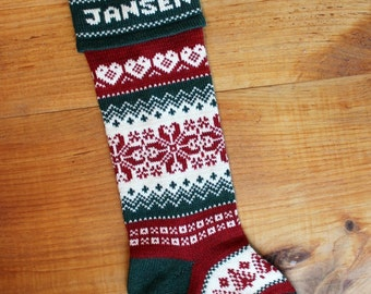 Wool Christmas Stocking, woven hearts, personalized, offered with a choice of green cuff or red cuff