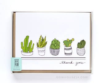Succulents Thank You Cards - Thank You Notes - Set of Cards - Cactus Cards