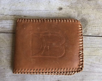 Vintage Tooled Leather Wallet -  Bill Folds  - Brown - Retro -