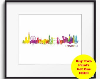 London Skyline Watercolor Art Print (301) London Cityscape, London Art Print