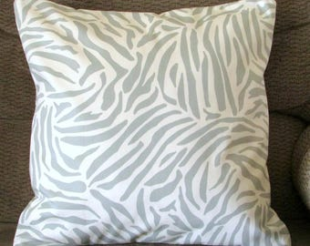 """Ivory and Pale Blue Grey Zebra Print Pillow Cover, 16 Inch Square, Envelope Style Cotton Pillow Case, """"Zebra Sky"""""""