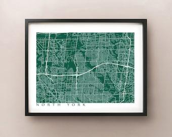 North York Map Print - Toronto Poster
