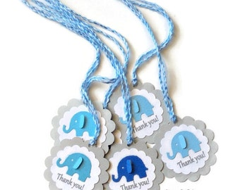 Grey with Mixed Blue Elephant  Scallop Thank you Tags with Assorted Twine -Gift Tags, Favor Tags, Label -Set of 12pcs, 24pcs