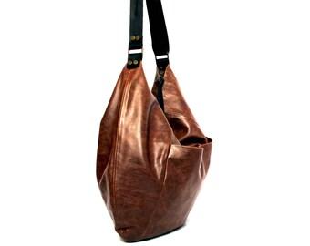 Braunes Leder Hobo Tasche - weiches Leder Geldbörse Verkauf braun Leder Tasche - Leder Schultertasche - Umhängetasche - Oversize Ledertasche