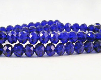 PSM23 - 10 beads, glass crystal Rondelles 8X6mm blue faceted precious / 10 PCs Dark Blue Glass Crystal Faceted Beads