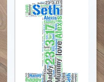 1st Birthday Gift! Personalised Word Art / Word Cloud Print!