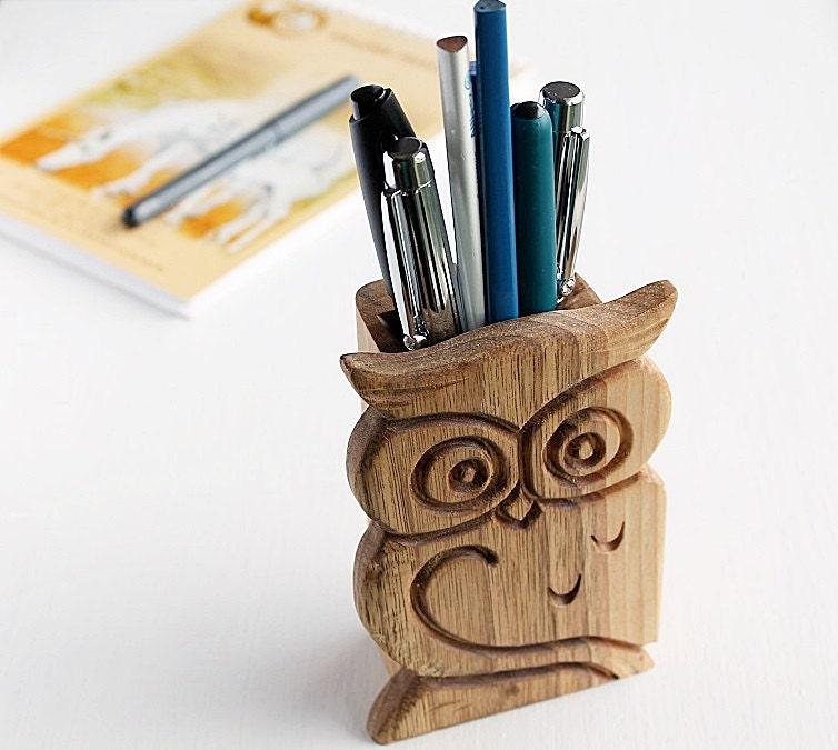 wood pen decor holder desk pencil wooden pin