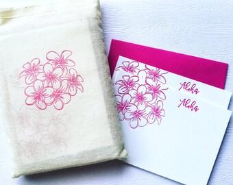 Plumeria Letterpress Stationery with Muslin Sack