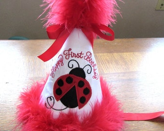 Personalized Girls Toddler Happy First Birthday LadyBug Lady Bug Party hat