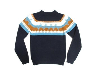 Vintage 1970s Fair Isle Sweater   Chunky Knit 1970s Ski Sweater   size small