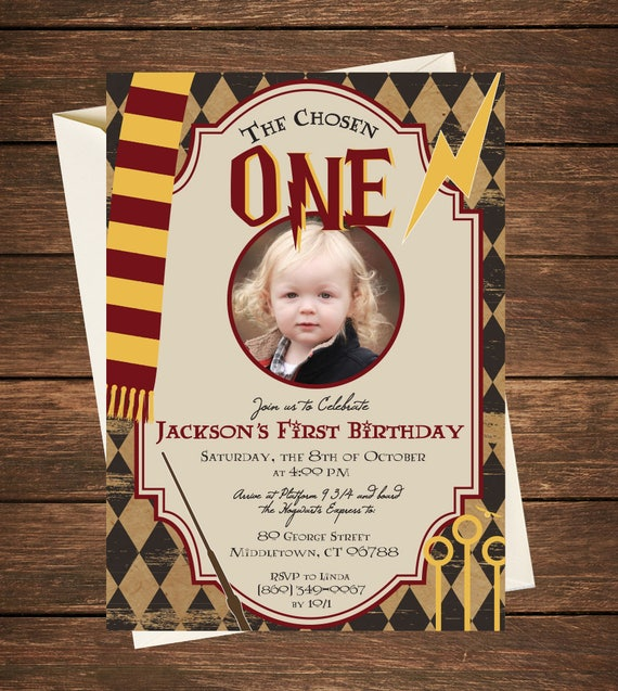 Harry Potter Birthday Invitation Harry Potter First Birthday