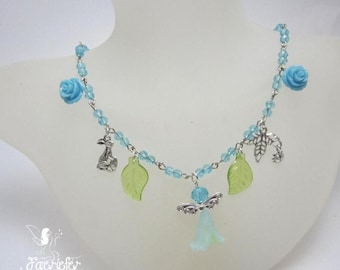 Ostara Spring Equinox necklace with faeries and spring flowers