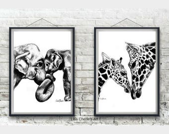 Mother and Baby Giraffe and Mummy and Baby Elephant Prints, nursery prints, animal nursery art, animal prints, cute art, mummy and baby art